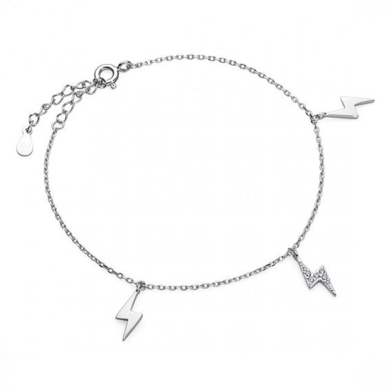 Silver bracelet, Lightning with zirconia