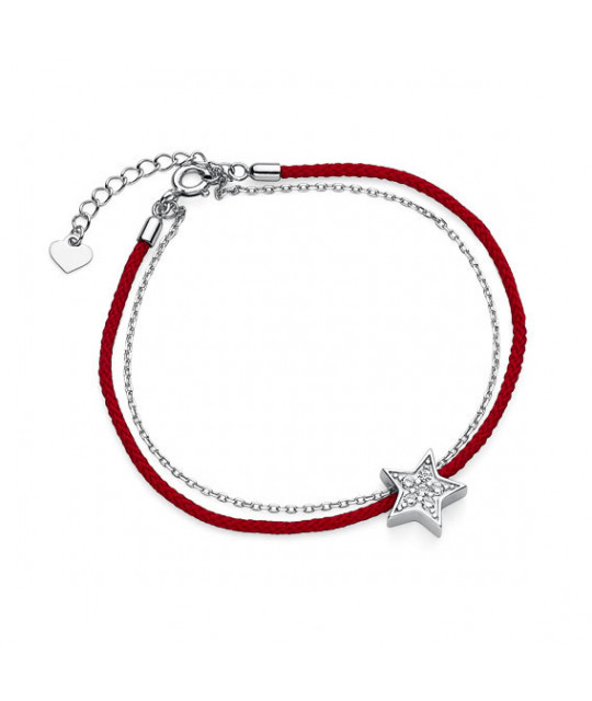 Red Kabbalah with silver charm, Star