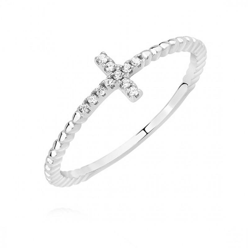 Silver ring with white zirconia, Cross EU-12
