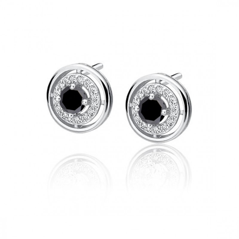 Apvalūs sidabriniai auskarai su juodu cirkoniu