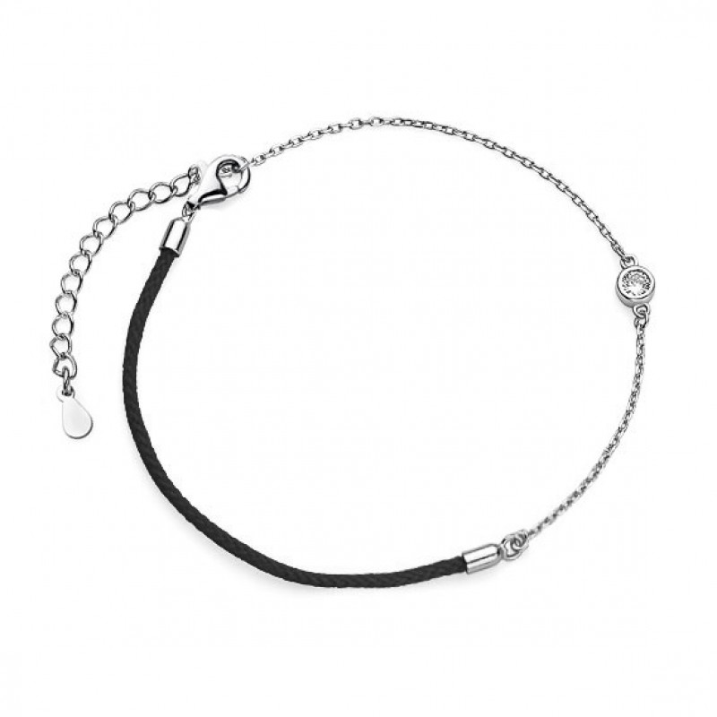 Silver bracelet with black thread and zirconium