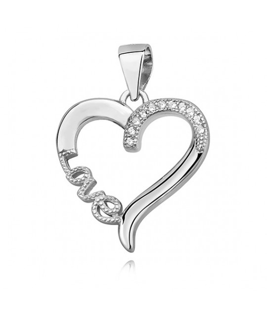 Silver pendant with zirconia, Love & heart