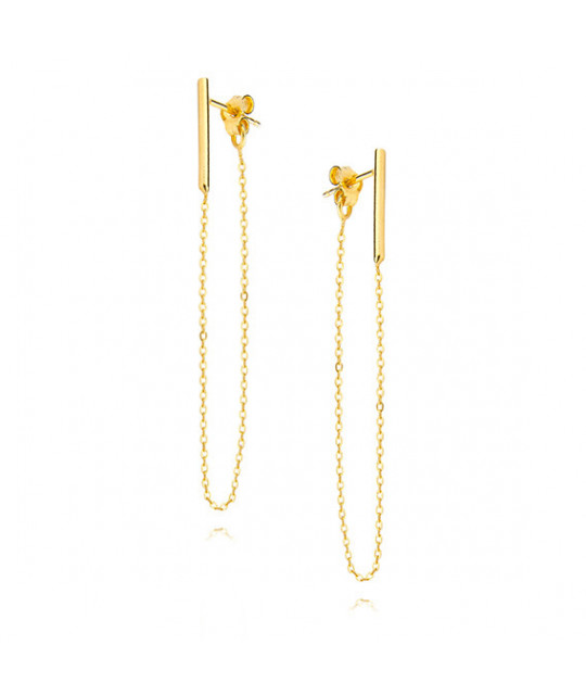 Silver earrings, Gold-plated chain