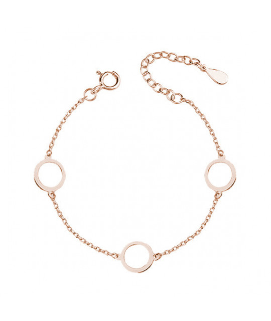 Silver pink gold-plated bracelet, three circles