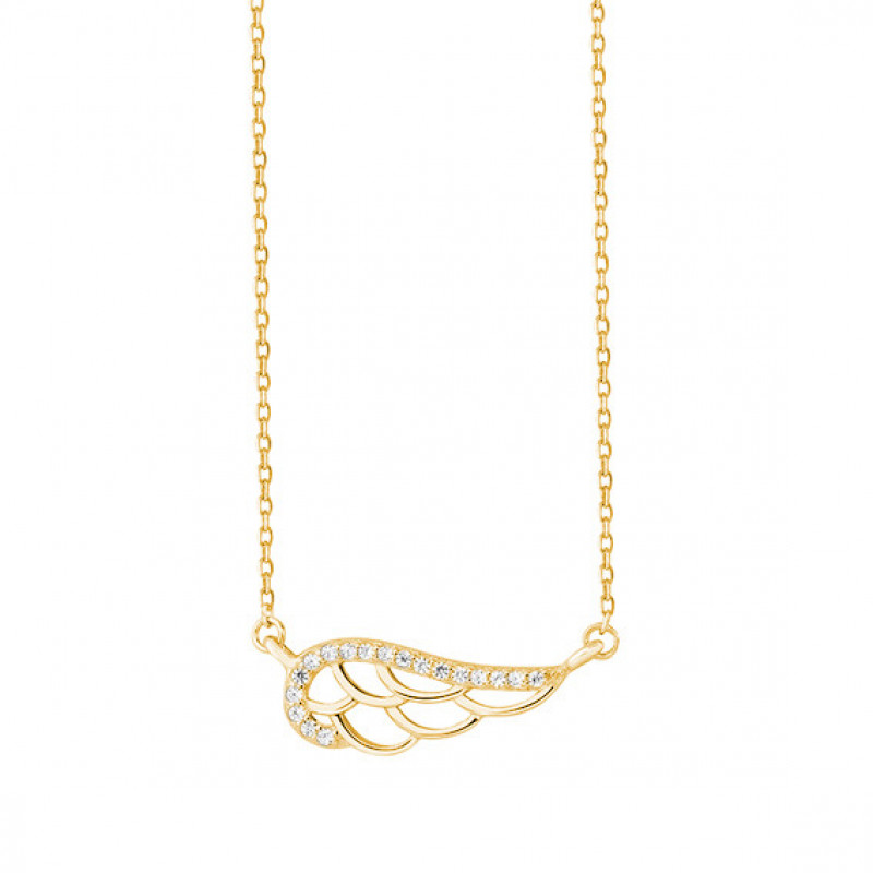 Silver necklace with zirconia, gold-plated Wing