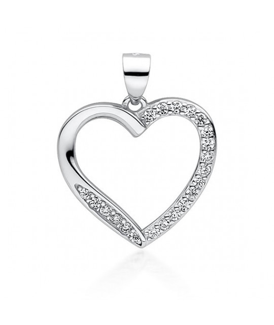 Silver pendant with zirconia, Hollow heart