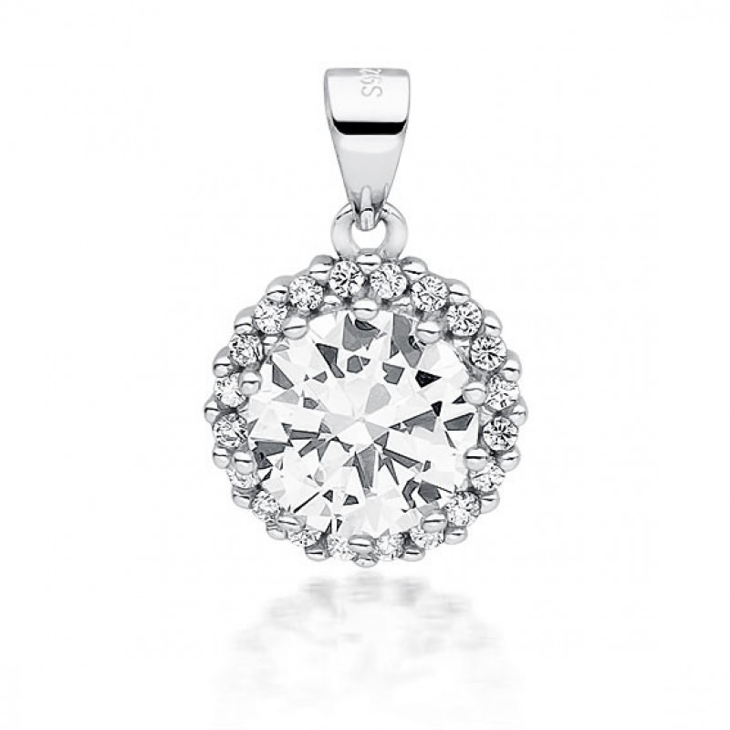 Silver pendant white zirconia, 19mm