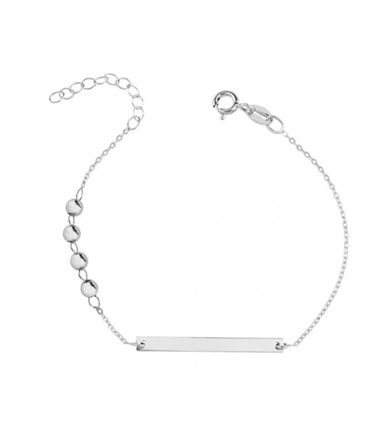 Silver bracelet with tag