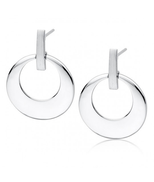 Silver round earrings, Elegant