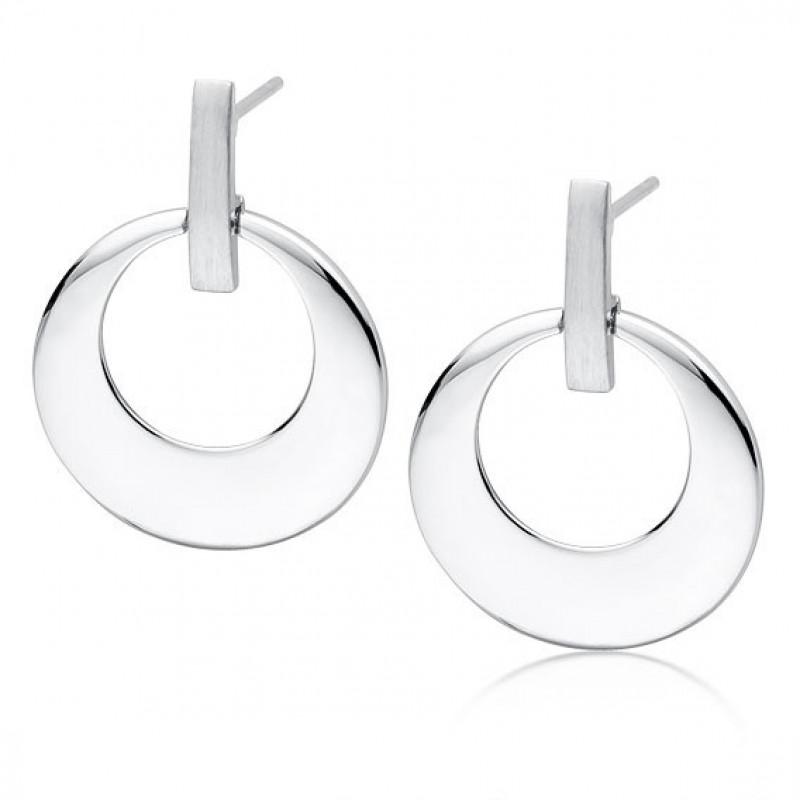 Silver round earrings, Elegant
