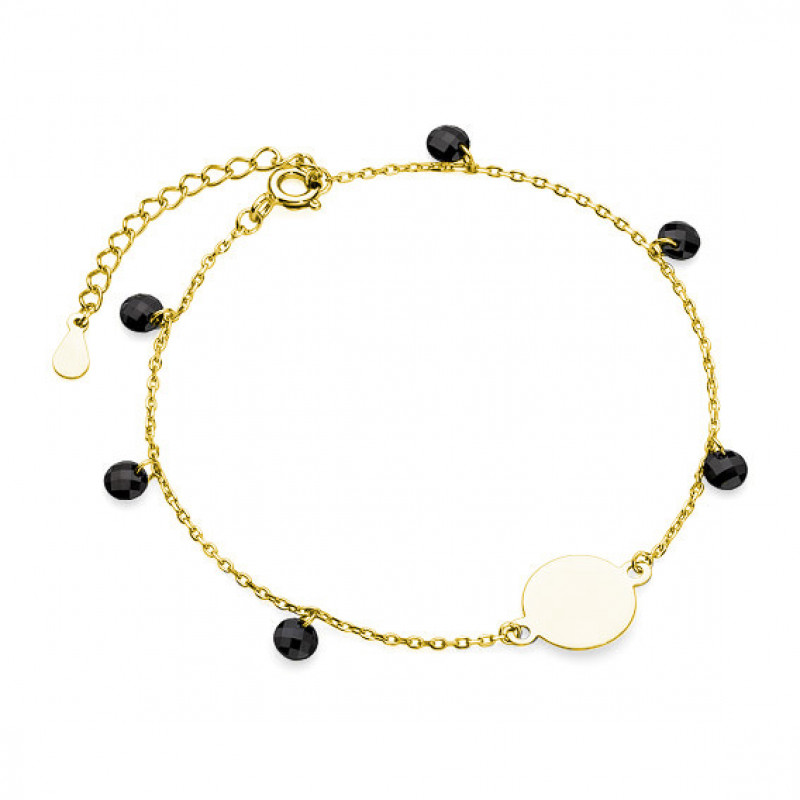 Gold-plated silver bracelet, Circle and black Spinels