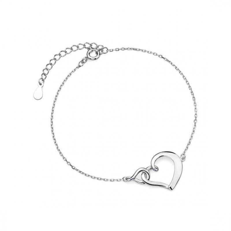 Silver bracelet heart and infinity
