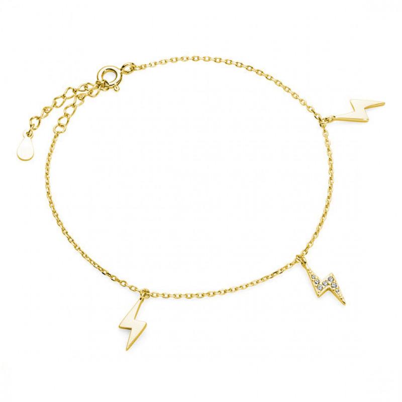 Позолоченный серебряный браслет, Молния с цирконием