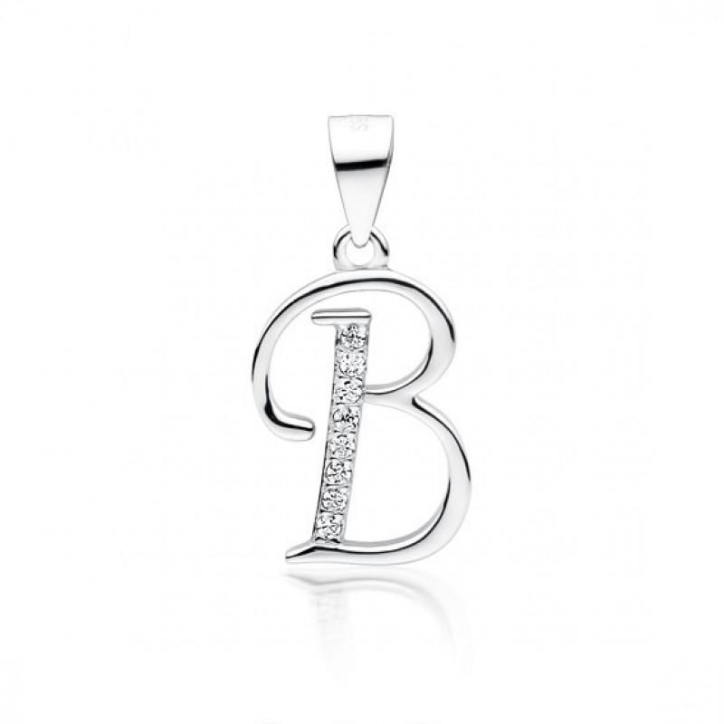 Silver pendant white zirconia, Letter B