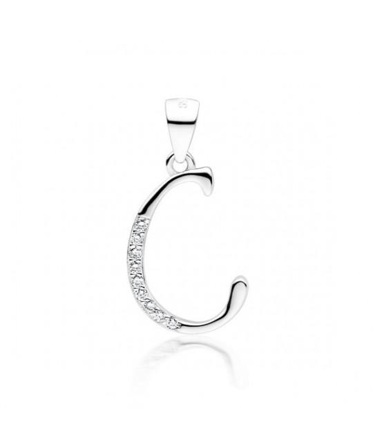 Silver pendant white zirconia, Letter C
