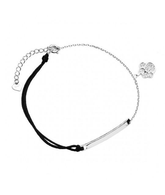 Silver bracelet with black cord, Dog/Cat paw