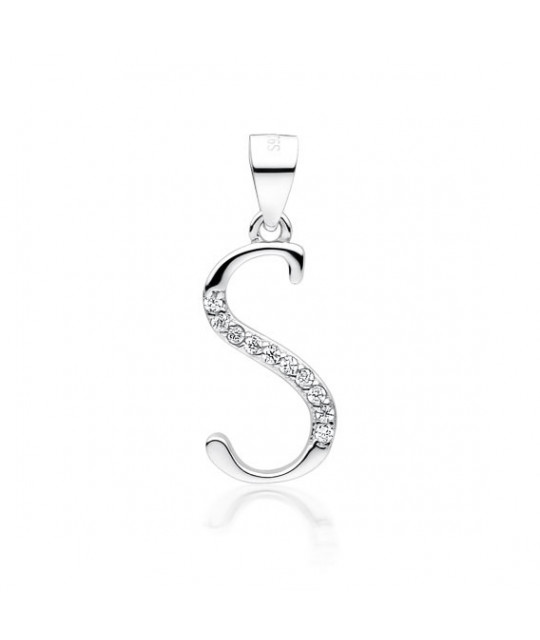 Silver pendant with white zirconia, letter S