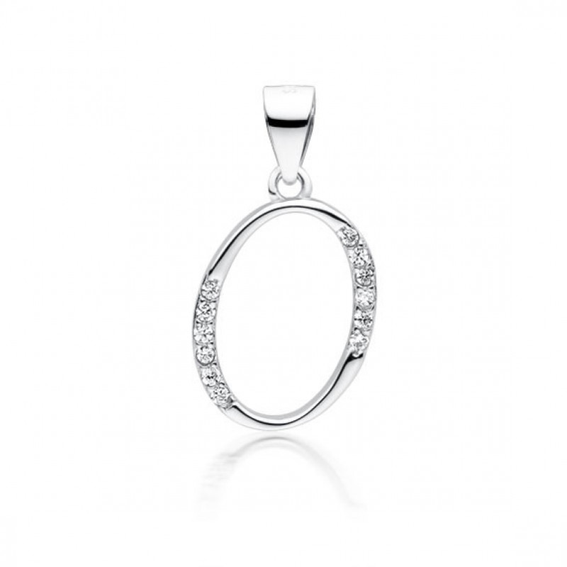 Silver pendant with white zirconia, letter O