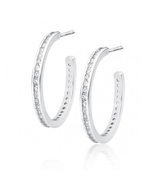 Silver earrings open with zirconia, Hoop