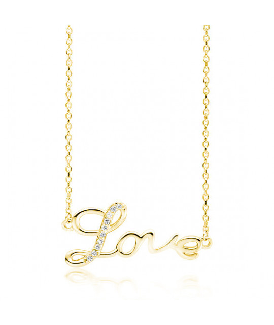 Silver gold-plated necklace, Love