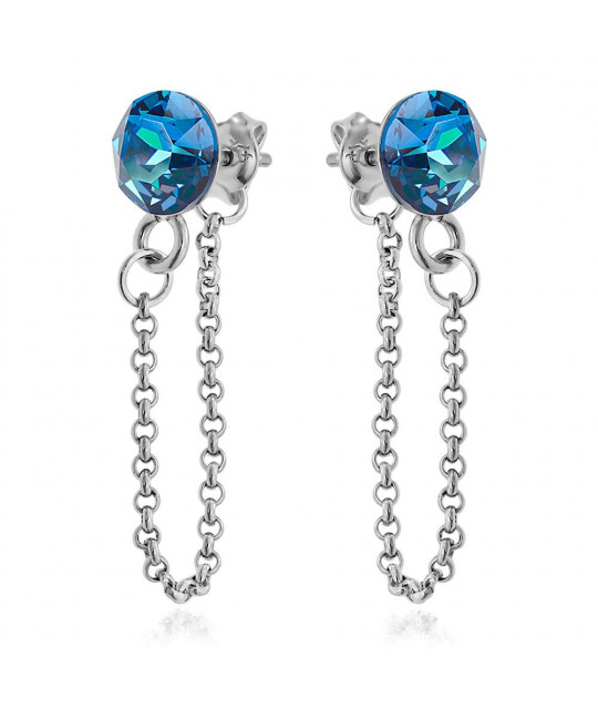 Earrings Xirius Chain, Bermuda Blue