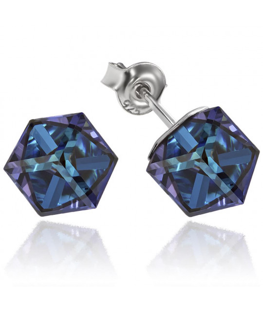 Earrings Cubic, Heliotrope