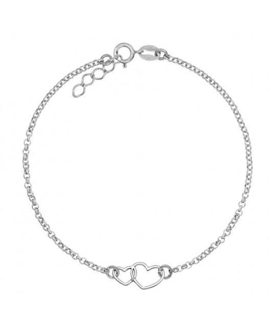 Bracelet Double Heart, Silver