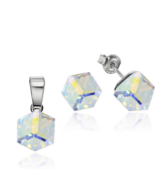 Set of Cubic: earrings + necklace, Aurore Boreale