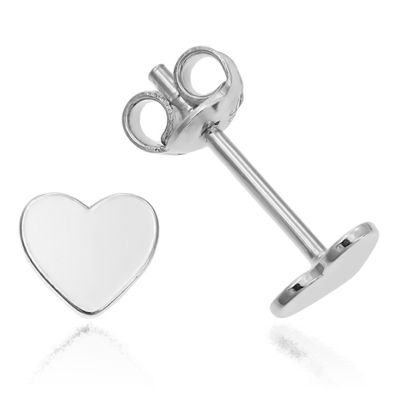Silver earrings Heart, 6 mm