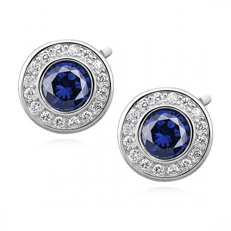 Silver earrings with zirconia, Sapphire
