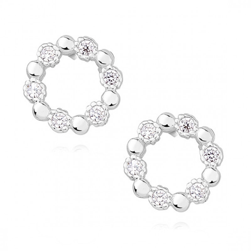 Silver earrings with white zirconia, 9,5 mm