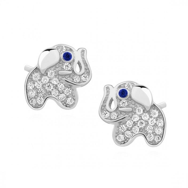 Silver earrings with zirconia, Elephants