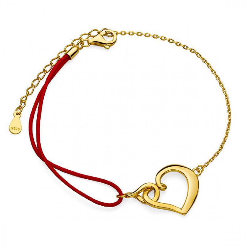 Позолоченный серебряный браслет, Сердце и бесконечность