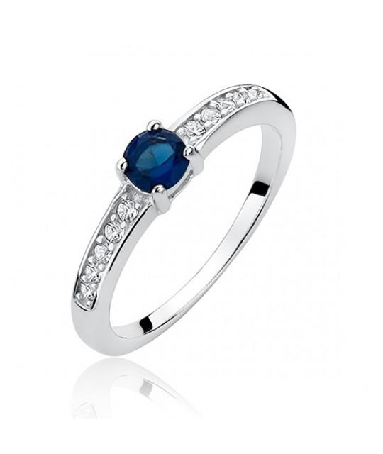 Silver ring sapphire zirconia, EU-15
