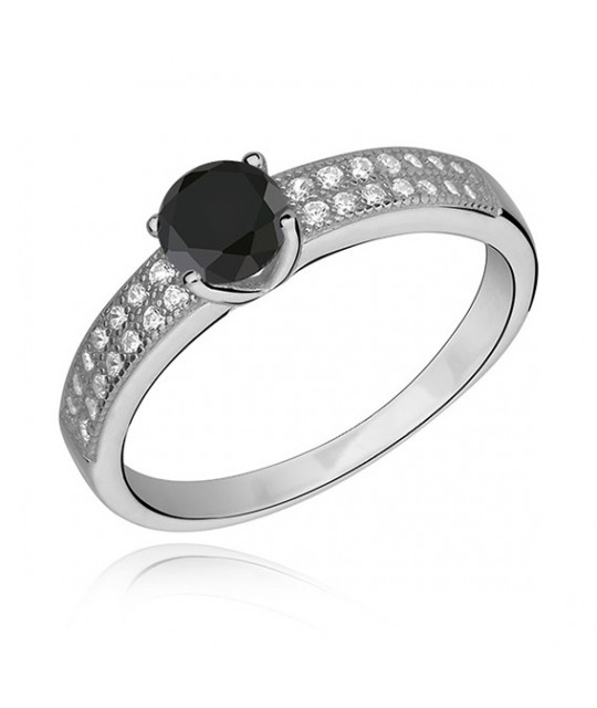 Silver ring with black zirconia, EU-16