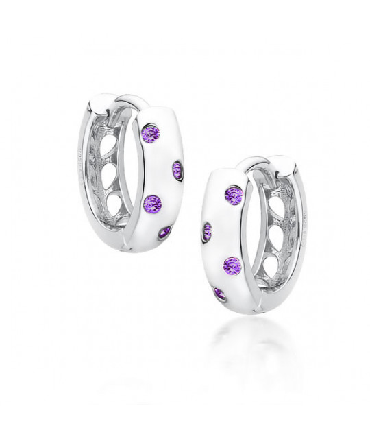 Silver earrings, Hoop with violet zircons