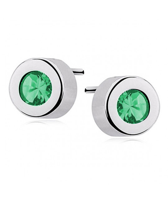 Silver round earrings with zirconia, Emerald