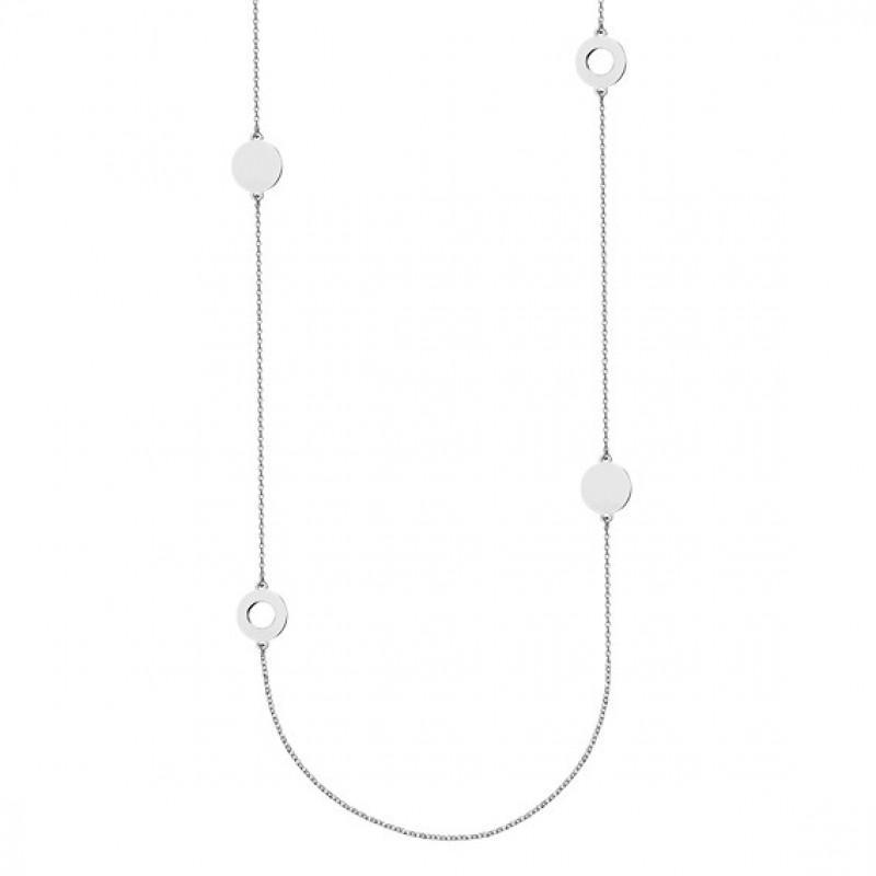 Silver necklace, Four round pendants, 80-83 cm