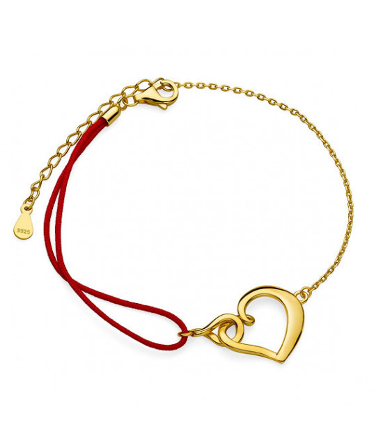 Silver gold-plated bracelet, Heart and infinity