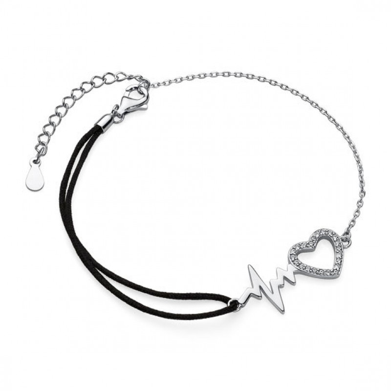 Silver bracelet, Heart and Pulse