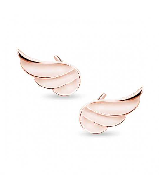 Silver earrings, rose gold-plated Wings