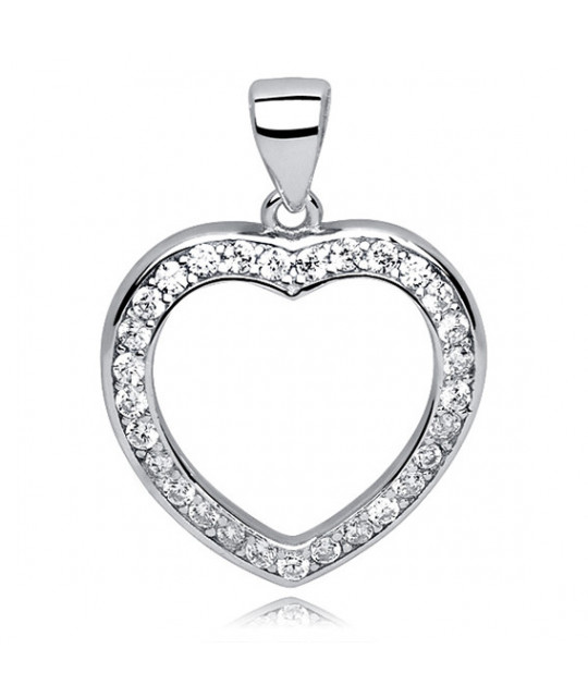 Silver pendant, Heart hollow