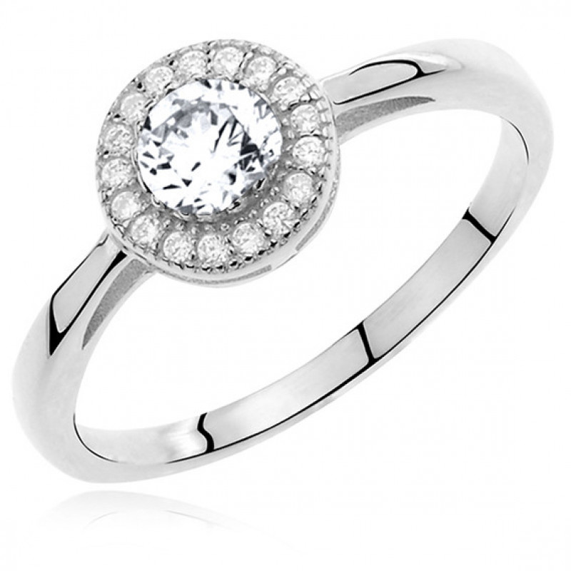 Silver ring with white round zirconia microsetting, EU-15