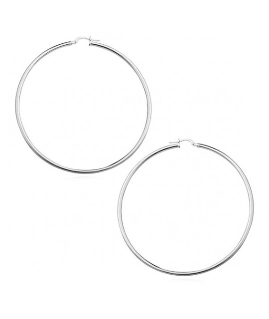 Highly polished silver earrings, Hoops
