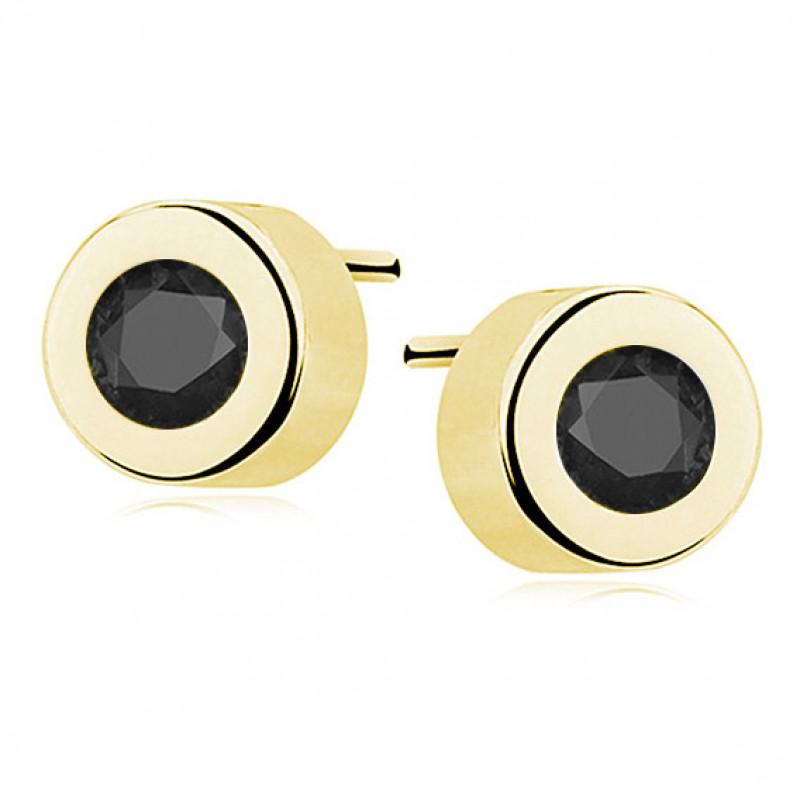 Позолоченные серебряные серьги с черным цирконием