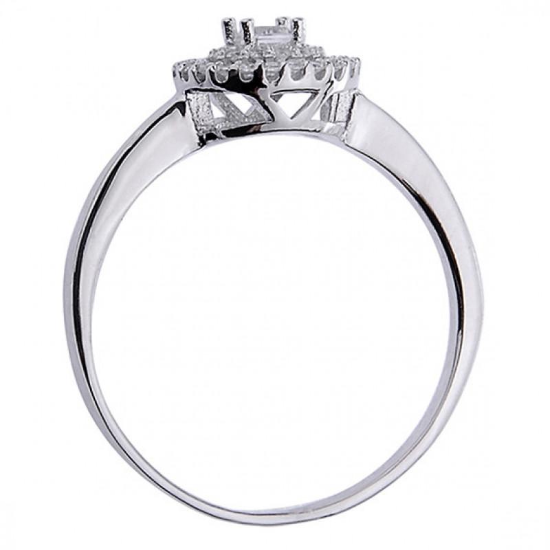 Silver Halo ring with white zirconia,  EU-17