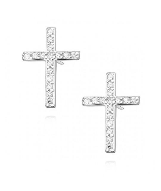 Sidabriniai auskarai su cirkoniu, Kryžiai