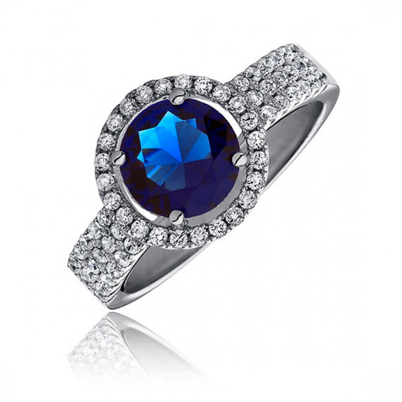Silver ring with sapphire zirconia, EU-16