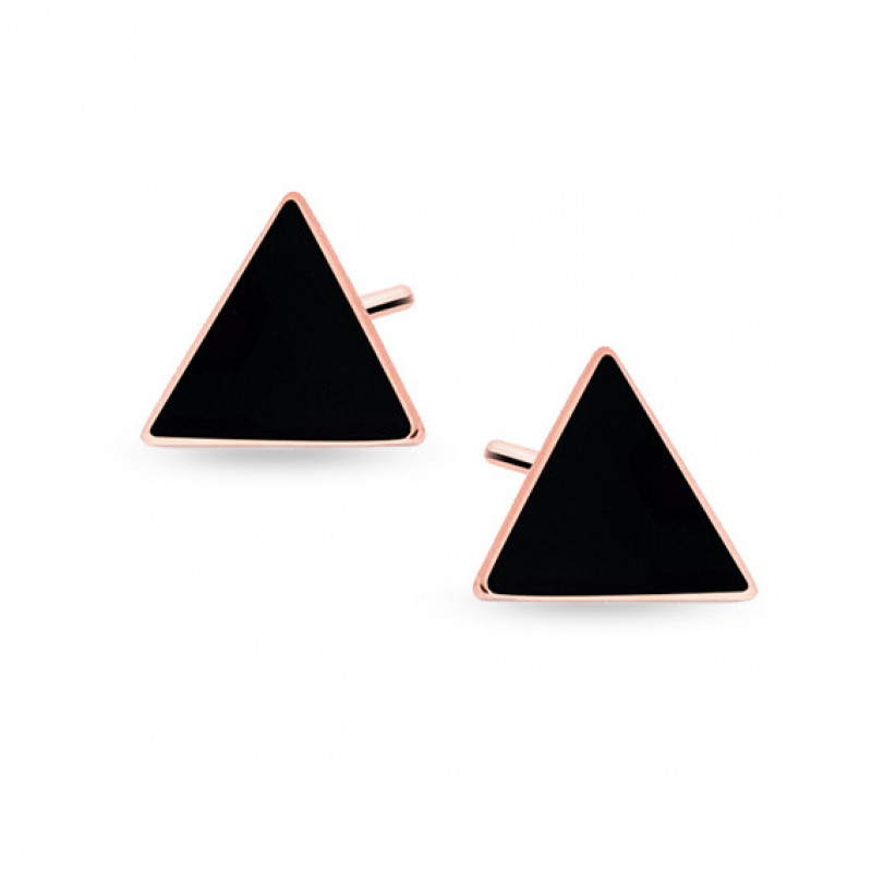 Silver black earrings, Rose gold-plated triangles