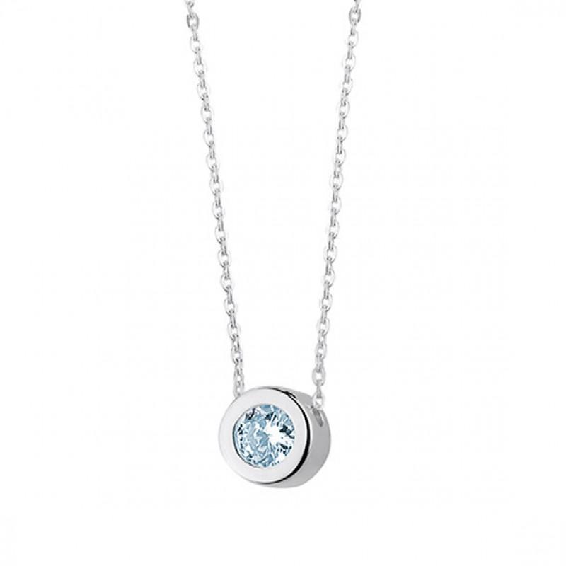 Silver necklace with round pendant and aquamarine zirconia, 45 cm